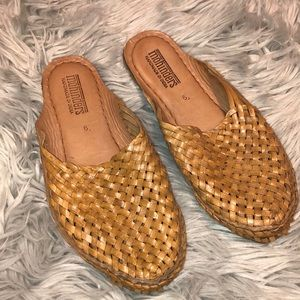Anthropologie Mohinder Woven leather slides 9
